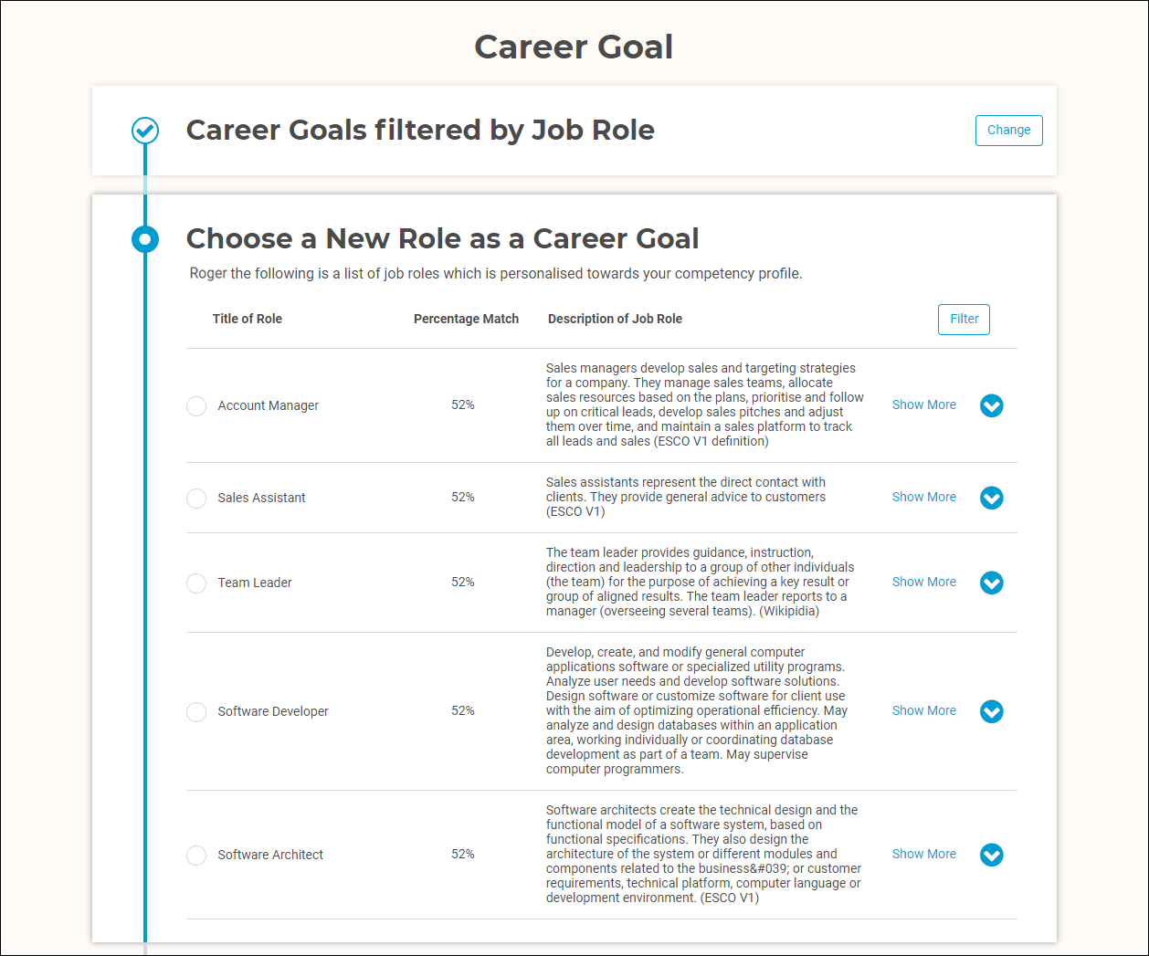 Career Goal Recommendations