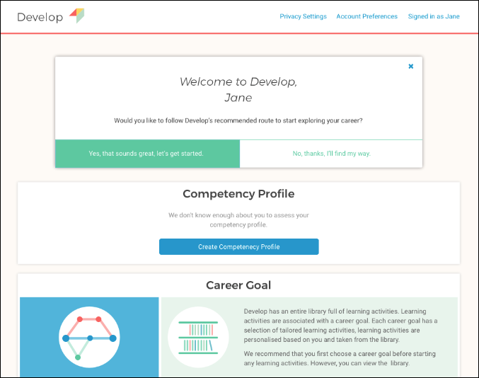 DEVELOP PLE Start Page
