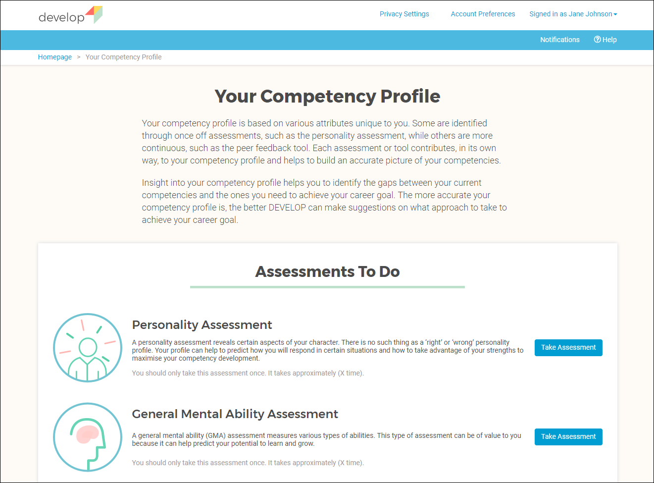 Assessments Overview Page